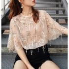 Set: Sequined Elbow-sleeve Top + Camisole Top