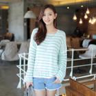 Drop-shoulder Stripe Sweater