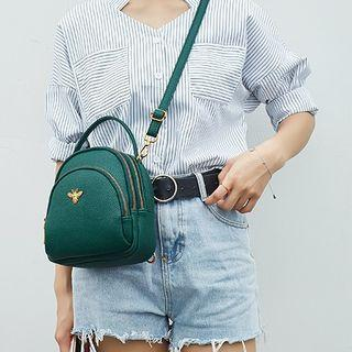 Faux Leather Bee Accent Mini Backpack