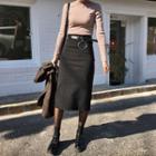 Midi Pencil Skirt With Belt