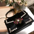 Chain-strap Rhinestone Embellished Velvet Shoulder Bag