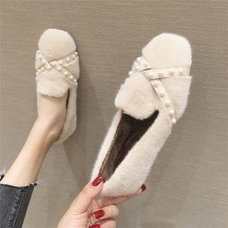 Fluffy Faux Pearl Loafers