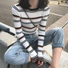 Long-sleeve Striped Knit-top