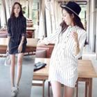Long Sleeve Striped Shirtdress