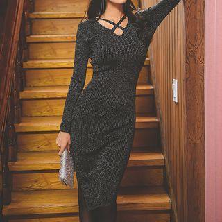 Long-sleeve Glitter Midi Sheath Knit Dress Black - One Size
