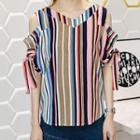 Cutout Shoulder Striped Short-sleeve Top