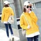 Long-sleeve Hooded Panel Knit Top