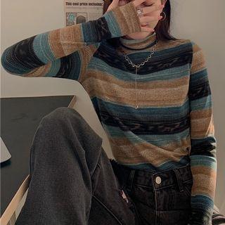 Long-sleeve Striped Mock-neck Top Stripe - Blue & Khaki - One Size