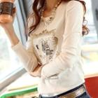 Sequined Embroidered Long Sleeve T-shirt