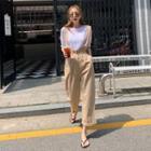Sleeveless Maxi Dress With Sash Beige - One Size