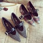 Plaid Buckled Pointed Flats