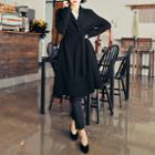 Notched-lapel A-line Trench Coat With Sash