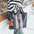 Colour Block Faux Leather Bucket Bag