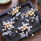 Faux Pearl Rhinestone Floral Bridal Hair Clip