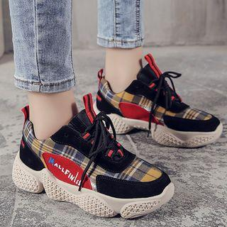 Checker Lace-up Platform Sneakers