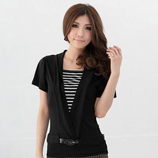Inset Striped Deep V-neck Short-sleeve Top