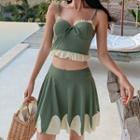Set: Ruffle Tankini + Swim Skirt
