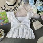Eyelet-lace Tank Top White - One Size
