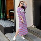 Printed Stripe Maxi Dress