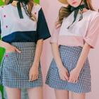 Dual-pocket Gingham Mini Skirt