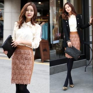 Lace-panel Pencil Skirt