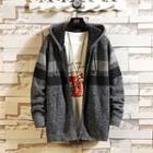 Striped Hooded Zip Knit Jacket