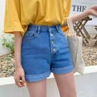 Button-fly Rollup-hem Denim Shorts