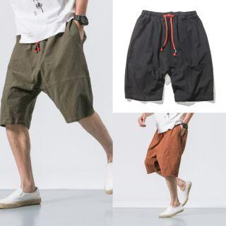 Plain Drawstring Beach Shorts