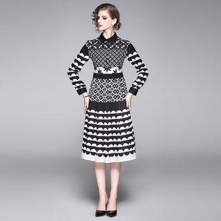 Patterned A-line Midi Shirtdress