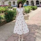 Strawberry Embroidered Dress Dress - One Size
