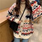 Deer-print Knit Cardigan
