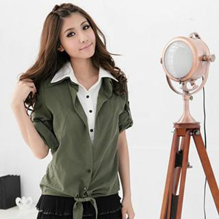 Inset Shirt Neck Roll-up Sleeve Top