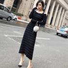 Off-shoulder Long-sleeve Midi Knit Dress Black - One Size