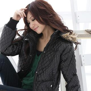 Quilted Faux-fur Trim Hooded Jacket