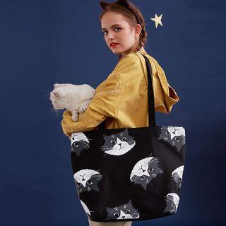 Cat Print Nylon Tote Bag Cat - Black - One Size