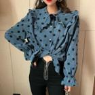 Frilled-collar Polka-dot Blouse Blue - One Size