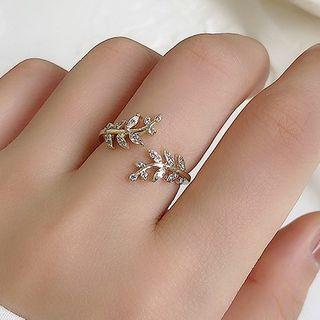 Rhinestone Branches Open Ring