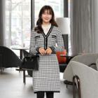 V-neck Piped Midi Tweed Dress