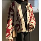 Patterned Chunky Knit Buttoned Cardigan