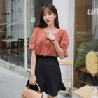 Square-neck Frill-sleeve Blouse