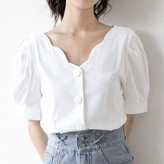 Short-sleeve V-neck Blouse White - M