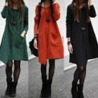 Long-sleeve Asymmetrical A-line Dress