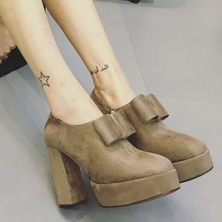 Faux-suede Bow-accent Shoe Boots