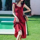 Sleeveless Ruffled A-line Midi Dress