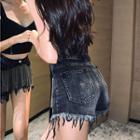 Chain Denim Shorts