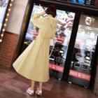 Hooded Band-waist A-line Dress