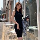 Sleeveless Button-trim Rib-knit Dress Black - One Size