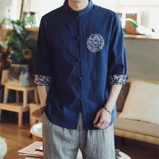 3/4-sleeve Print Trim Frog-buttoned Stand Collar Shirt