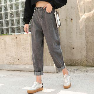 Fleece-lined Washed Cropped Jeans