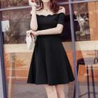 Short-sleeve Off Shoulder A-line Mini Dress
